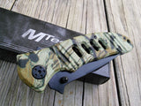 "7.75"" MTech USA Green Jungle Forest Camo Manual Opening Pocket Knife - Frontier Blades"