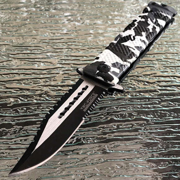 TAC FORCE TACTICAL ASSISTED SNOW CAMO RESCUE FOLDING KNIFE Pocket Blade 7.5