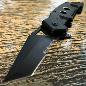"8.5"" MTech USA Black Spring Assisted Tanto Blade Pocket Knife - Frontier Blades"