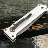"JOKER ""Why So Serious?"" ASSISTED WHITE RESCUE FOLDING POCKET KNIFE OPEN - Frontier Blades"