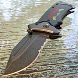 "8"" Zombie Apocalypse Spring Assisted Fantasy Tactical Folding Knife Blade Open - Frontier Blades"