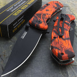 "7.75"" Tac Force Red Camo EDC Rescue Orange Pocket Knife TF-764RC - Frontier Blades"