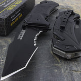 "8.25"" Tac Force Black Tanto Spring Assisted Rescue Pocket Knife - Frontier Blades"