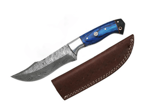 "9.75"" Handmade Blue Wood Handle Damascus Skinning Knife (DM-525BLH)"