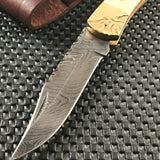 "8.5"" HAND CRAFTED DAMASCUS STEEL FOLDING KNIFE w/ BONE HANDLE (BB-18) - Frontier Blades"