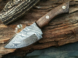 "8"" HAND MADE DAMASCUS STEEL KNIFE WOODEN HANDLE w/ Sheath (BB-5) - Frontier Blades"