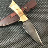 "10"" Custom Damascus Steel Hunting Knife w/ Buffalo Bone Handle (BB-9) - Frontier Blades"