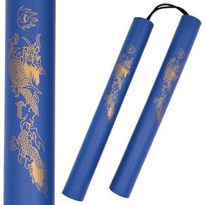 "12"" Blue Foam Nunchucks W/ Golden Dragon Graphic (801-BL) - Frontier Blades"