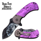 Dark Side Blades Ballistic Purple Flame Dragon Fantasy Knife