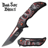 "7.75"" Assisted Open Fantasy Red Dragon Pocket Knife (DS-A078RD) - Frontier Blades"