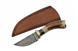 "7.25"" Damacus Stag Skinning Knife - Frontier Blades"