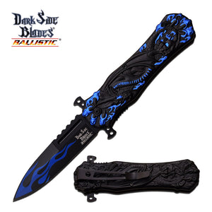 Dark Side Blades Ballistic Dragon Blue Flame Pocket Knife - Frontier Blades
