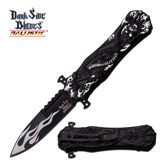 Dark Side Blades Ballistic Dragon White Flames Knife - Frontier Blades