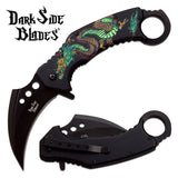 "8"" Dark Side Blades Green Dragon Karambit Fantasy Pocket Knife - Frontier Blades"