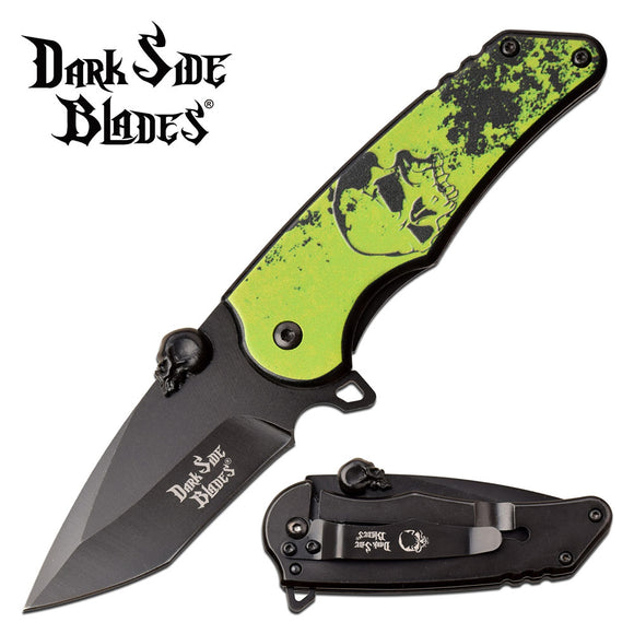 Dark Side Blades Green Skull Fantasy Folding Knife (DS-A083GN) - Frontier Blades