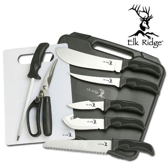 Elk Ridge 9 Piece Hunting Knife Set For Sale (ER-190) - Frontier Blades