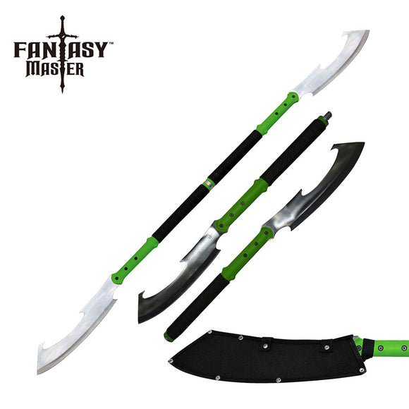 Fantasy Master Green & Black Detachable Double Bladed Spear & Staff Sword For Sale (FMT-053GN)