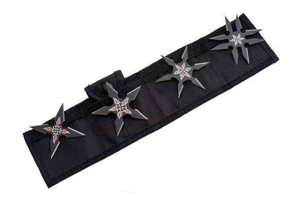 Four Black Ninja Flames Throwing Star Set For Sale - Frontier Blades
