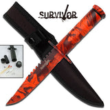 "OUTDOOR HUNTING & SURVIVOR FULL TANG 8.5"" FIXED BLADE KNIFE w/ SHEATH HK-690RC - Frontier Blades"