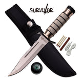 "OUTDOOR HUNTING & SURVIVOR FULL TANG 9.5"" FIXED BLADE KNIFE w/ SHEATH HK-695 - Frontier Blades"