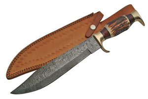 "16"" Hand Forged Damascus Bowie Knife - Frontier Blades"