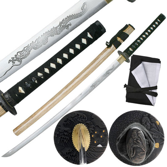 Hand Forged Samurai Carbon Steel Dragon Longsword - Frontier Blades