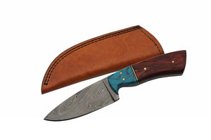 "8"" Handmade Damascus Redwood Hunting Skinning Knife - Frontier Blades"