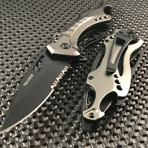 "8"" TAC FORCE TACTICAL SPRING ASSISTED FOLDING POCKET KNIFE (TF-705GY) - Frontier Blades"