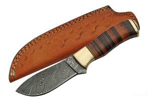 "8.5"" Leather Damascus Skinning Knife - Frontier Blades"