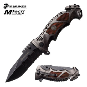 "9.0"" MTech USA USMC Marines Spring Assisted Pocket Knife MA1048SW - Frontier Blades"