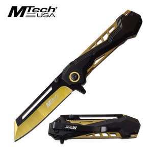 "7.75"" MTech USA Spring Assisted Gold Outdoor Pocket Knife MTA1057GD - Frontier Blades"