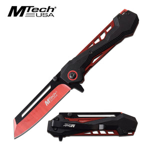 "7.75"" MTech USA Spring Assisted Red Outdoor Pocket Knife MTA1057RD - Frontier Blades"