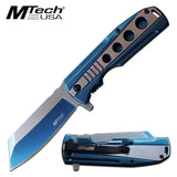 "8.25"" Blue Spring Assisted MTech USA Pocket Knife (MT-A1107BL) - Frontier Blades"