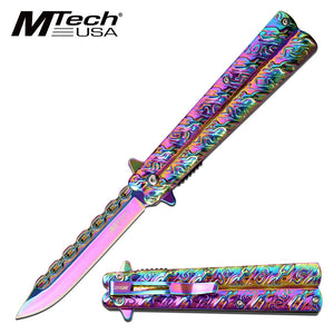 MTech USA Spring Assisted Rainbow Butterfly Knife (MT-A1173RB) - Frontier Blades