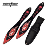 "7.0"" Perfect Point PP-117-2RD Flame Skull Throwing Knife Set w/ Sheath - Frontier Blades"