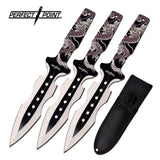 "7.5"" Perfect Point PP-122-3WH Dragon Design Throwing Knife Set w/ Sheath - Frontier Blades"