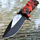 "8.25"" Rite Edge Hunting Red Camo Assisted Open EDC Pocket Knife - Frontier Blades"