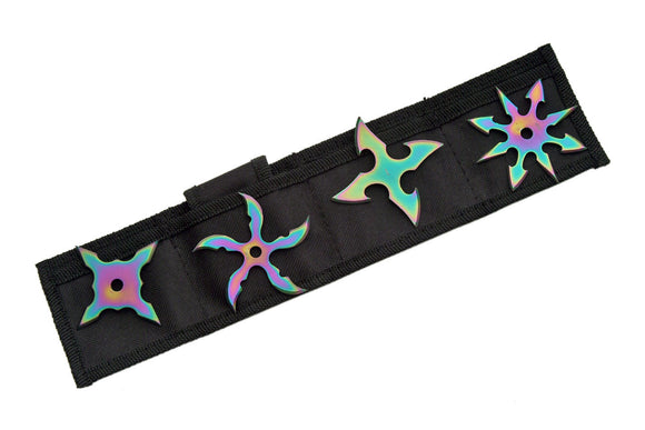 Rainbow Throwing Stars Set For Sale (4 Pieces) - Frontier Blades