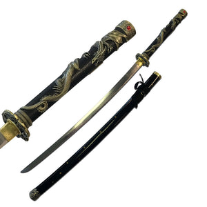 "42"" Dragon Antique Gold Fantasy Katana Sword Sale - Frontier Blades"