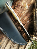 "9.5"" Damascus Steel Hand Crafted Bone Handle Frontier Hunting Knife - Frontier Blades"