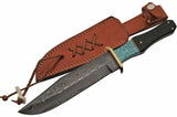 "12.5"" Hand Forged Blue Damascus Bowie Knife - Frontier Blades"