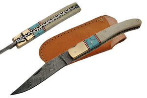 "8.5"" Handmade Bone Damascus Folding Knife - Frontier Blades"