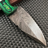 "8"" Hand Forged Damascus Hunting Knife Buffalo Horn Handle (BB-12) - Frontier Blades"