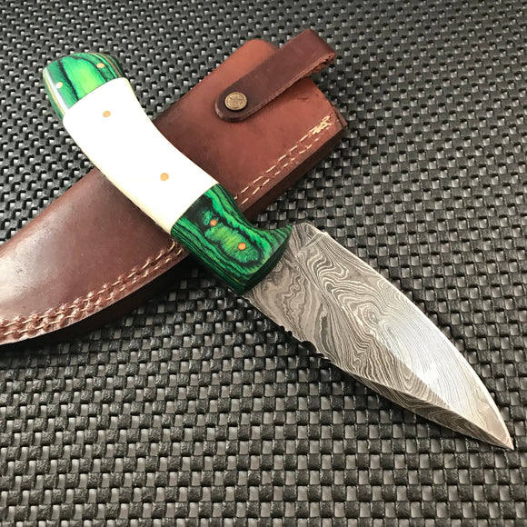 HAND CRAFTED GREEN DAMASCUS STEEL HUNTING KNIFE DAGGER BOWIE - Frontier Blades