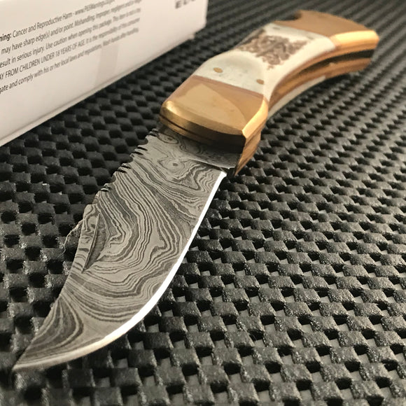 Damascus Folding Stag Handle Pocket Knife w/ Filework