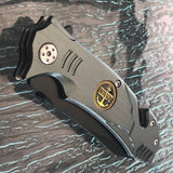"8.5"" Spring Assisted Black Gray Tactical Folding Pocket Knife - Frontier Blades"