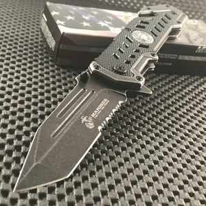 "8.75"" USMC MARINES TACTICAL SPRING ASSISTED TANTO POCKET KNIFE Blade Folding"