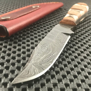 "7.5"" Mini Stag Handmade Damascus Skinning Knife"