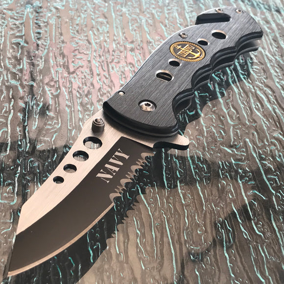 "8.5"" Black Silver Navy Assisted Open Tactical Pocket Knife - Frontier Blades"