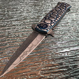 Tac Force Two Tone Blue Cobra Titanium Steel Fantasy Pocket Knife - Frontier Blades
